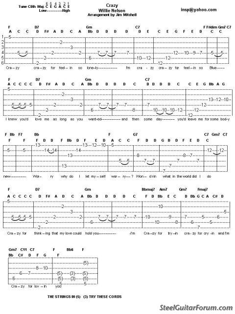 Guitar steel guitar tablature : The Steel Guitar Forum :: View topic - CRAZY by Willie Nelson tab ...