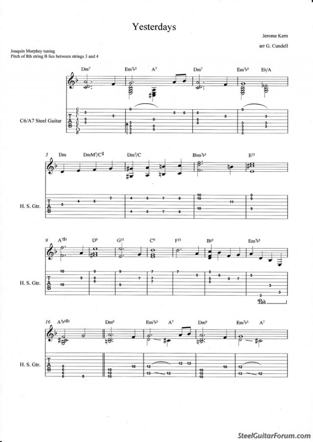 All Music Chords gnossienne no 1 sheet music : The Steel Guitar Forum :: View topic - Non-Pedal Tablature **Post ...