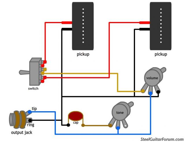 the steel guitar forum view topic wiring diagram? two pickup guitar wiring diagram Two Pickup  sc 1 st  MiFinder : guitar pickup wiring schematic - yogabreezes.com