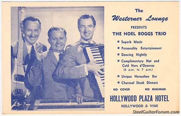 Kings of Western Swing 939_Noel_Boggs_Trio_business_card_from_Hollywood_Plaza_hotel_1