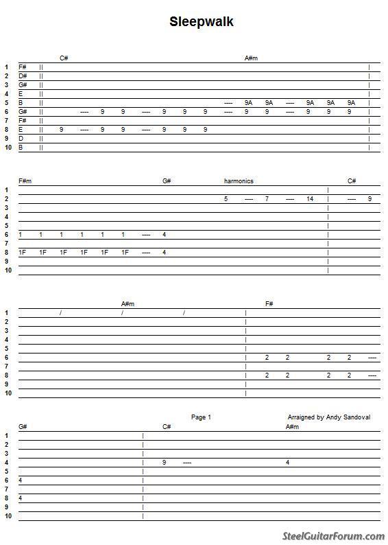 """Guitar steel guitar tablature : The Steel Guitar Forum :: View topic - """"Sleepwalk"""" Tab & Rhythm ..."""