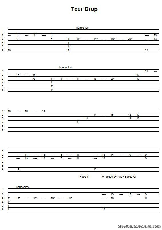 "Guitar steel guitar tablature : The Steel Guitar Forum :: View topic - Santo & Johnny's ""Tear Drop ..."