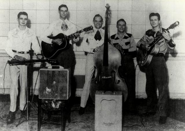 Quelques Héroes de la Steel 939_Bob_Manning_band_circa_1948_L_to_R_Bobby_Koefer_Johnny_Rector_Bob_Manning_Pee_Wee_Reid_Bill_Carson_1