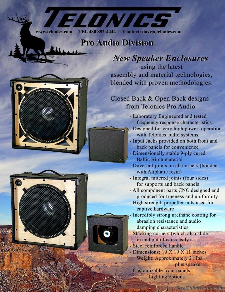 New Telonics Pro Audio Speaker Enclosures : The Steel Guitar