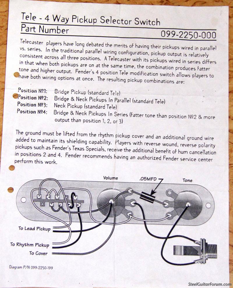 A Fender Telecaster 4 Way Switch Wiring Trusted Diagram Humbucker Additionally Guitar The Steel Forum View Topic Tele Info 3 7