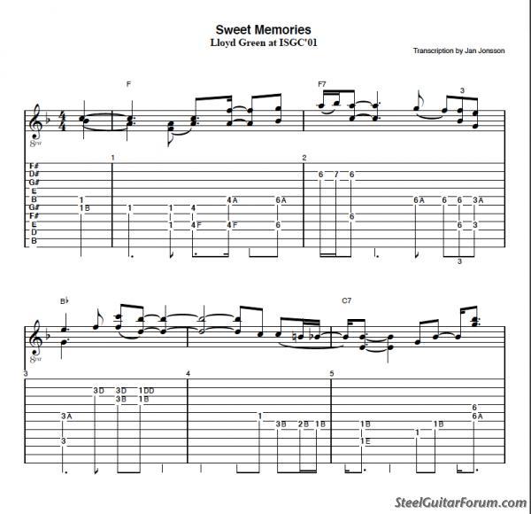 Guitar steel guitar tablature : The Steel Guitar Forum :: View topic - Tabs for Sweet Memories ...
