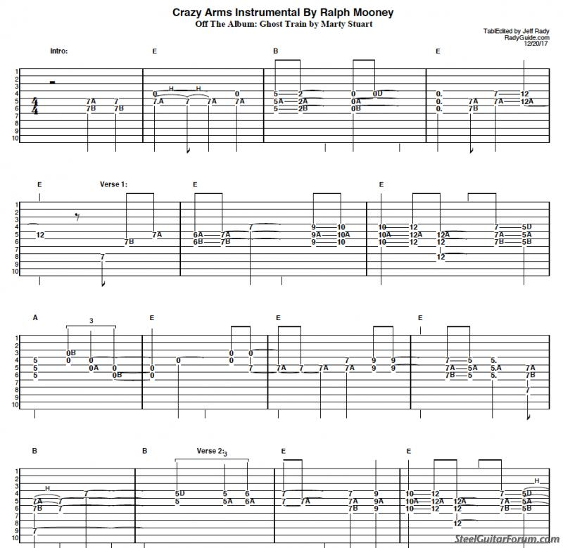 All Music Chords crazy sheet music : The Steel Guitar Forum :: View topic - Crazy Arms by Ralph Mooney